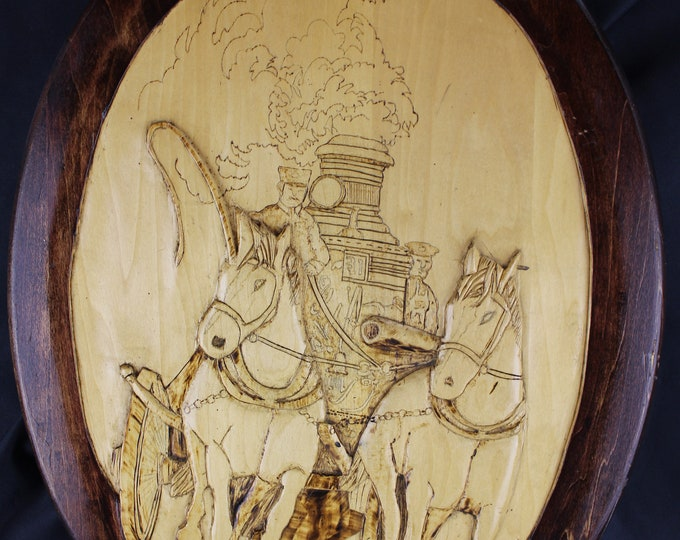 Folk Art K. Mazurak, Pyrography,-Wood Burning and Painting Wall Decor Horses pulling Steam Engine Fire Truck