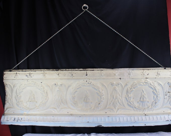Antique Architectural Pressed Tin Ceiling Cornice Edge Molding Eternal Flame