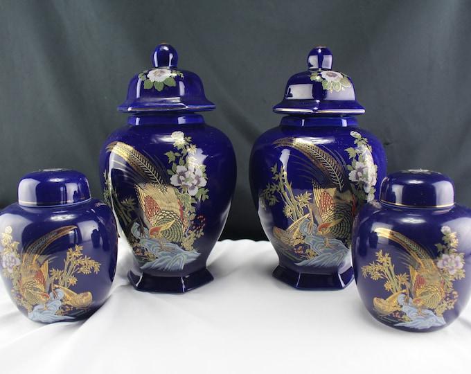 4 Covered Jar-Cobalt Blue Gold Covered Ginger Jar Pheasants-Covered Urn Asian Decor