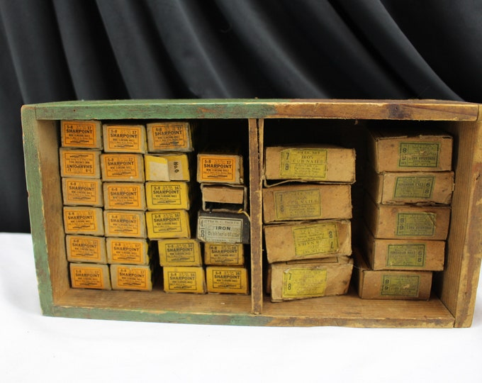 32 Boxes of Cobblers Nails Vintage Hardware in the Box With Handmade Wood Store Display Box
