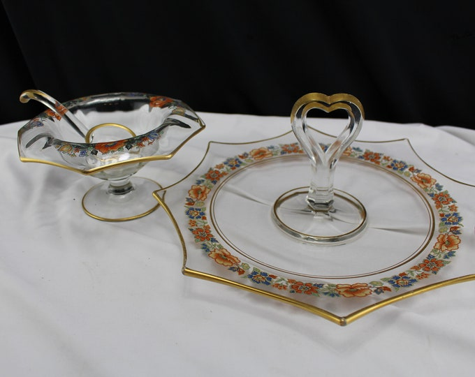 Imperial Glass Octagon Center Handled Sandwich Tray and Mayonnaise Bowl and Ladle Collectors call the line Molly