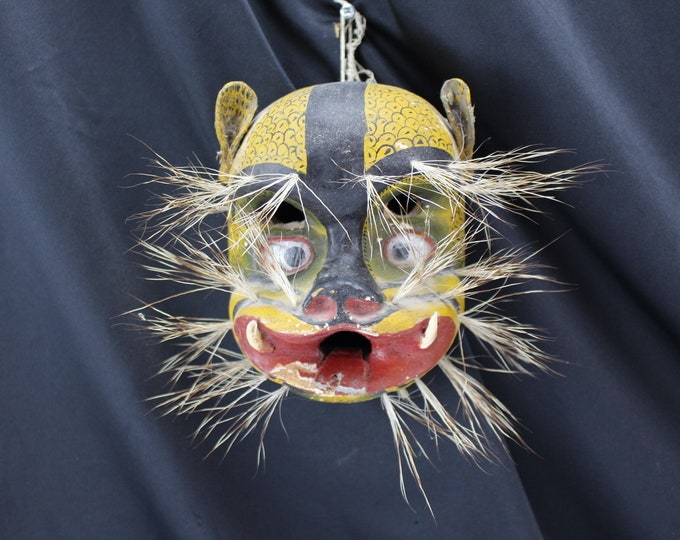 Mexican Tribal Folk Art Native Ceremonial Dance Wild Boar Mask Tusks & Bristle