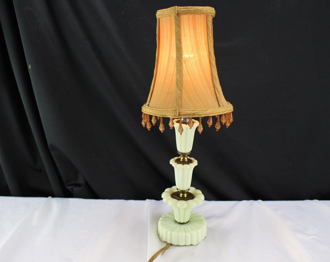 Antique Custard Glass Dressing Table/Accent Lamp EAPG