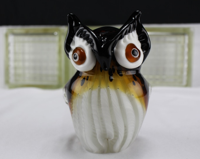 Vintage Murano Italy Art Glass Figurine Owl Amber and White Collectible Home Decor