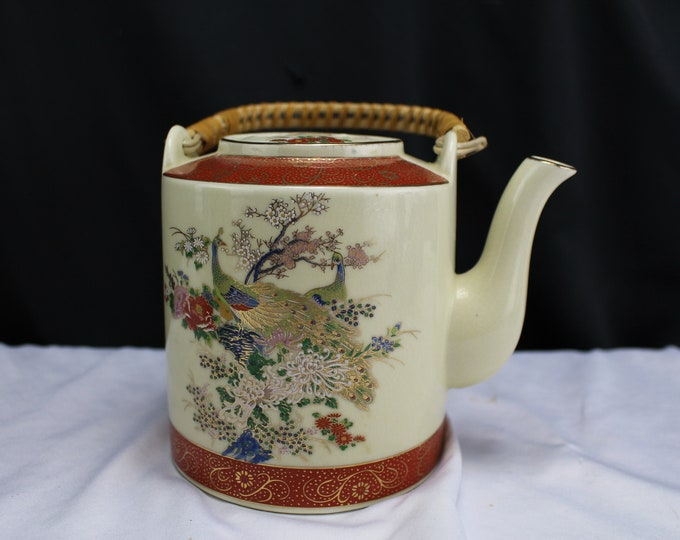 """Vintage Mid Century Japanese SATSUMA Teapot FLOWERS and PEACOCKS 5-1/4"""" Tall"""