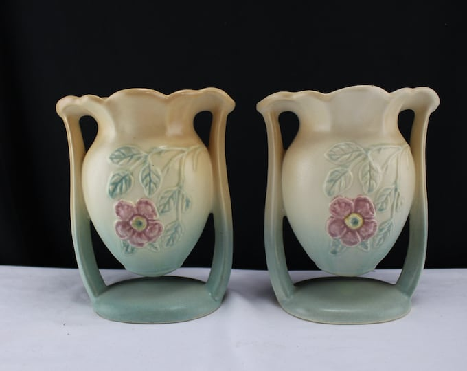 Pair Original HULL Pottery Dogwood Suspended Vase - 502-6 1/2""