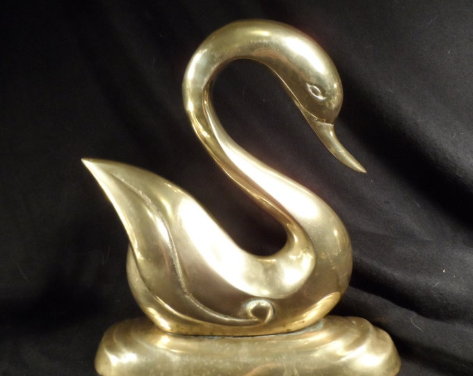 Brass Swan Figurine-Large Brass Swan-Brass Bird-Farm house decor