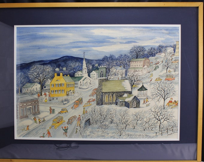 "Original Watercolor Mix Painting ""Our Town"" Prindle Wissler (Vermont 1912-2011) Town of Middlebury"
