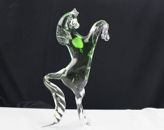Murano Art Glass Horse Figurine  Raring Bronco Collectible Animal Clear and Green Marked