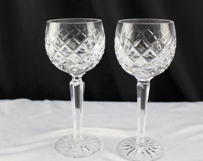 Pair Waterford Crystal Stemware Wine Hock Glasses Comeragh Pattern Barware