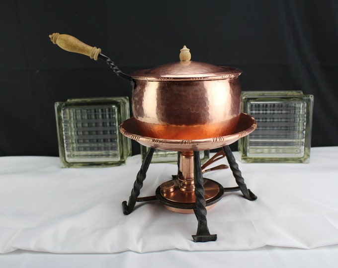 Vintage Swiss Copper and Wrought Iron and Wood Cookware-Chafing Dish with Sterno Fuel Burner Alla Monda