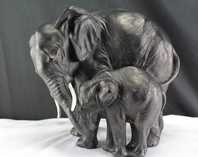 "Large 12"" Plaster/Chalkware Elephants Cow and Calf Sculpture Figurine Sculpture Asian Animal"