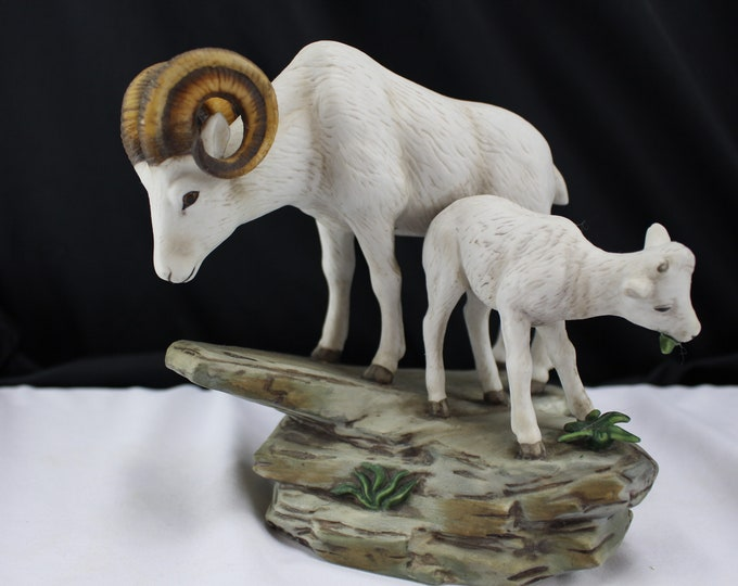Home Interiors Masterpiece Porcelain by HOMCO Big Horn Ram and Baby 1984 Animal Figurine Gift Ceramic