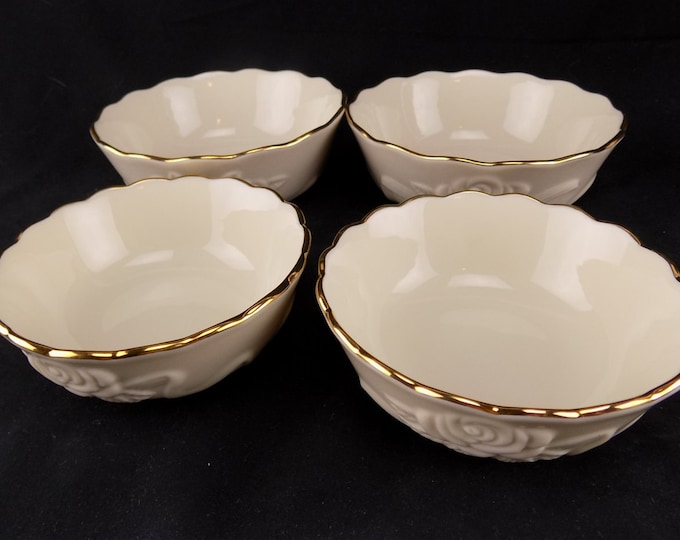Lenox Rose Blossom Bowls 2 Sizes Ivory With Gold Trim