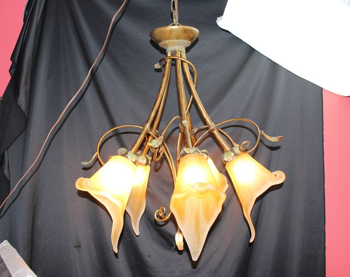 Cristal Italy Copper and Glass Chandelier Hanging Light Jack in the Pulpit Shade