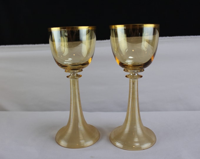 Vintage Pair Bohemian Amber Glass Trumpet Stem Wine Glasses Attributed to Moser Glass