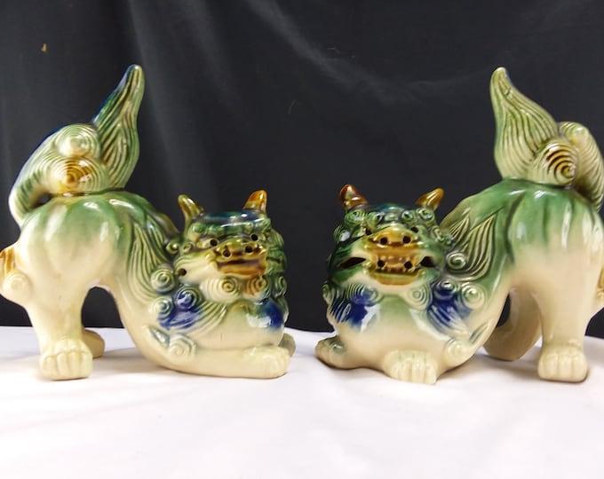 Vintage Pair Polychrome Foo Dogs-Guardian Lions-Asian Decor-Ceramic