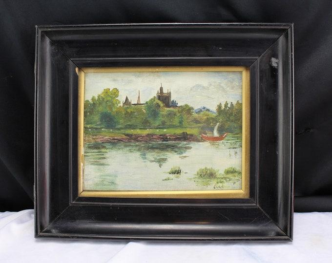 Antique Original Oil Painting 1800's European Landscape Castle Boat