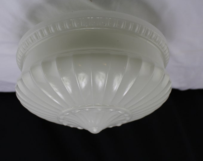 """Mid Century White Glass Ceiling Shade Large Circus Tent Shaped 6"""" Fitter"""