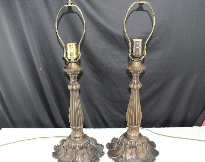Vintage Pair Bronze Finished Table Lamps Water Lilies Tiffany Style