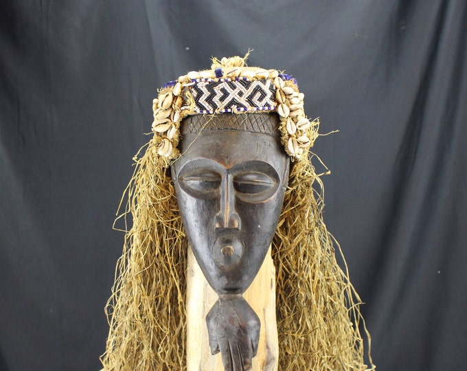 Mid Century African Chokwe Tribal Mask, Helmet, Congo Wood and Cowrie Shells