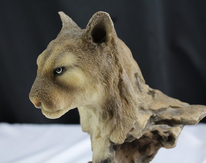 Mountain Lion Bust Sculpture Mill Creek Studios Proud Repose 7113 Wildlife Figurine