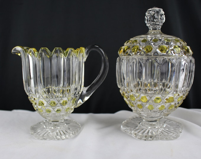 Antique EAPG Creamer and Sugar with Cover Bowl Masonic Design-Clear and Yellow Pressed Vintage Glass