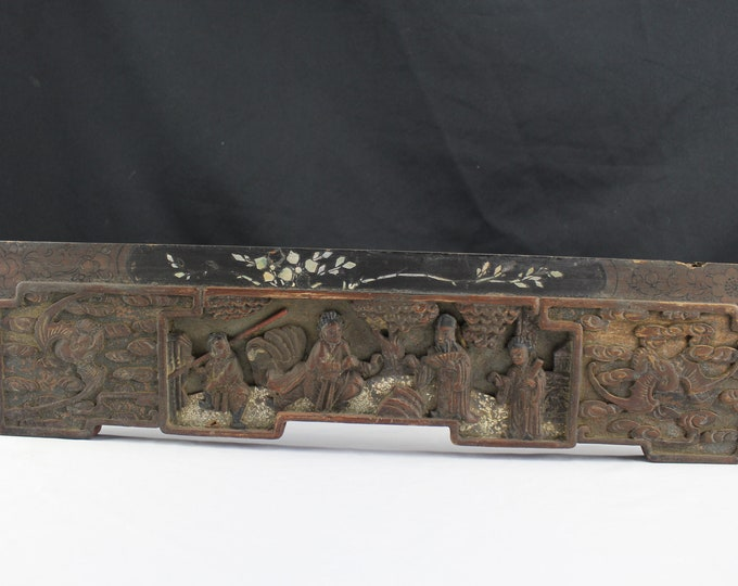 Art 19th Century Chinese Carved Wood Drawer Front Bats and Warrior Mother of Peral