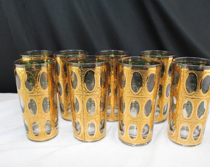 8 Vintage Mid Century Culver Pisa 22K Gold Signed Highball Glasses Barware Drinkware