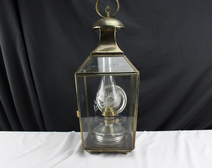Vintage Oil Lantern Station Lantern Brass Cut Glass Levent Oil Lamp