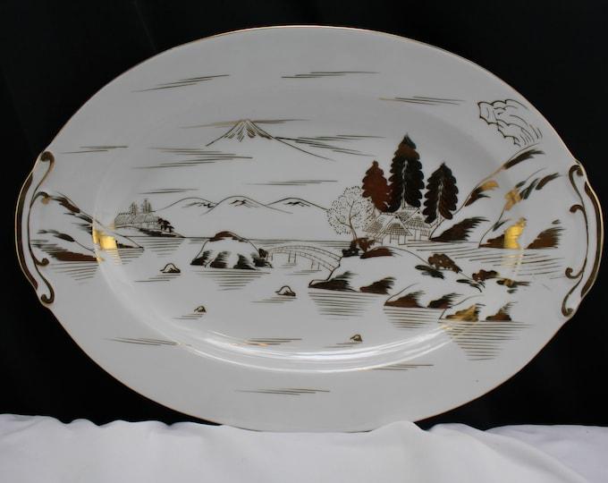 "Vintage Porcelain Kutani China Mt Fuji Village Bridge 16"" Metallic Silver Serving Platter - Japan"