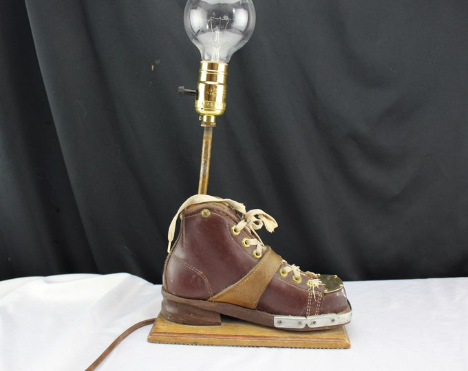Mid Century Ski Trophy Vintage Leather Ski Boot, Accent/Table Lamp-Ski Lodge Decor