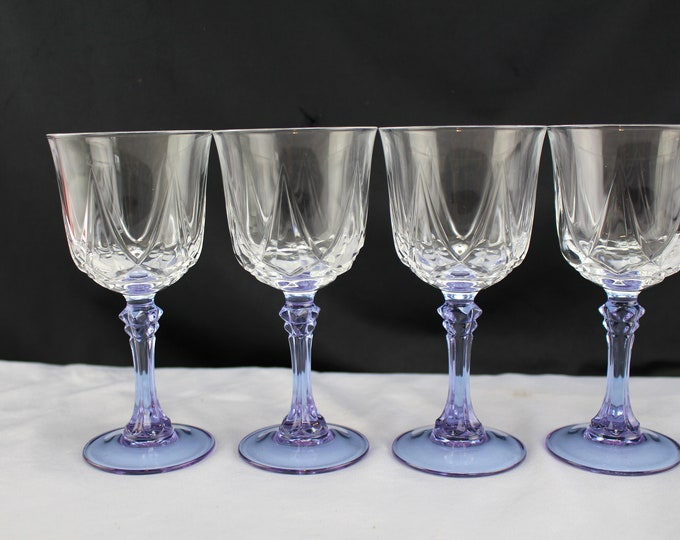 lot of 4 - Wine Glass Auteuil Lilas by CRISTAL D'ARQUES-DURAND Purple Stem