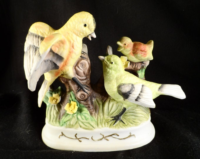 Bird Figurine-3 Birds Ceramics Figurine-Parrots with Baby Sculpture-Home decor