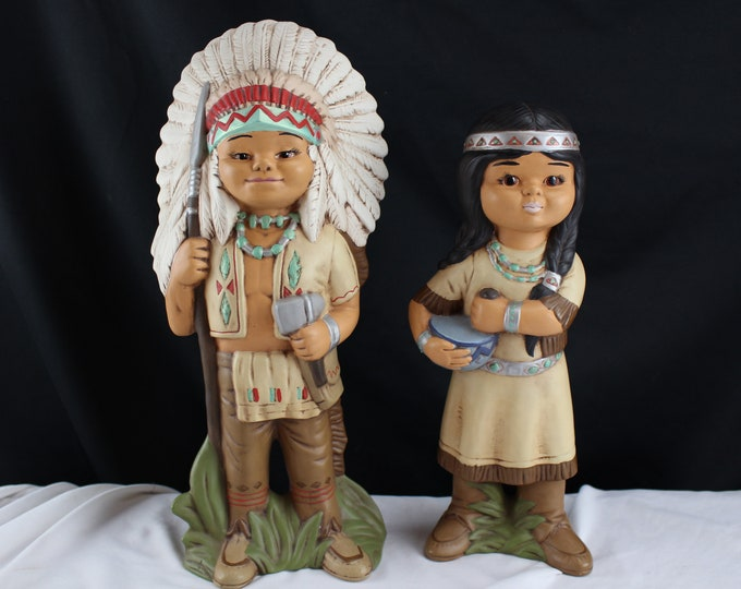 Vintage Ceramic Figurines Little Boy and Girl American Indians Signed Wilma Pfeiffer 86