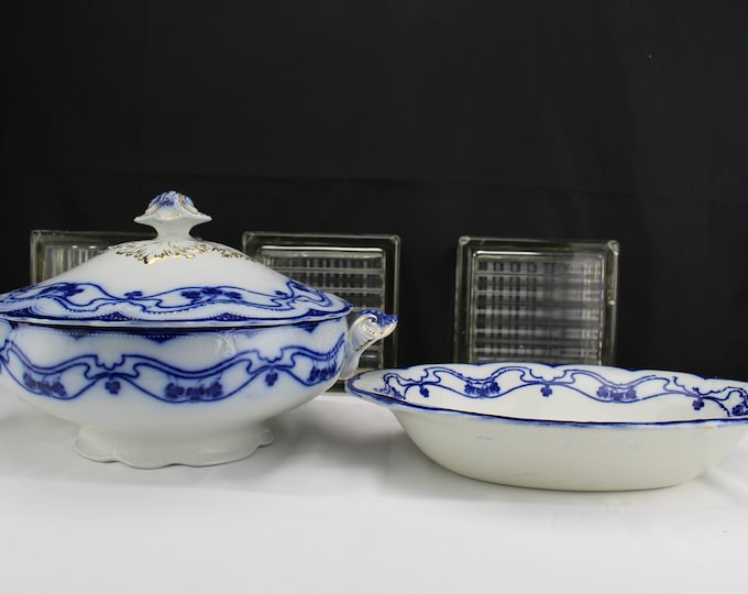W.H. Grindley Lorne Round Tureen & Boat Shaped Vegetable dish, English Flow Blue Clovers