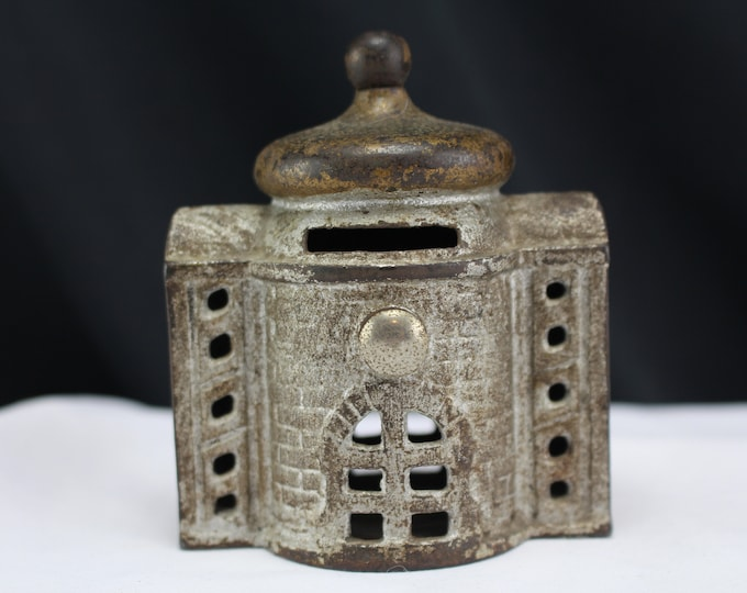 """Antique Cast Iron Toy Victorian 3 1/4"""" Building Bank w Gilded Cupola Roof 1900s"""