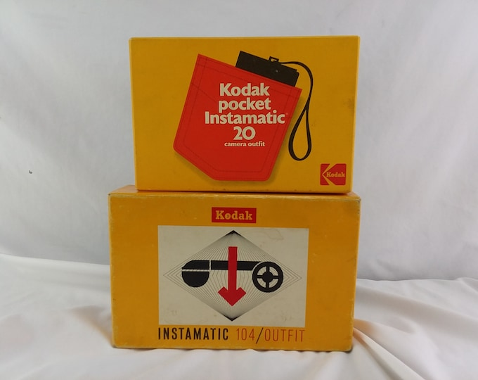 2 Vintage Kodak Pocket Instamatic Cameras 20 Out Fit and 104 Outfit w/Display Boxes