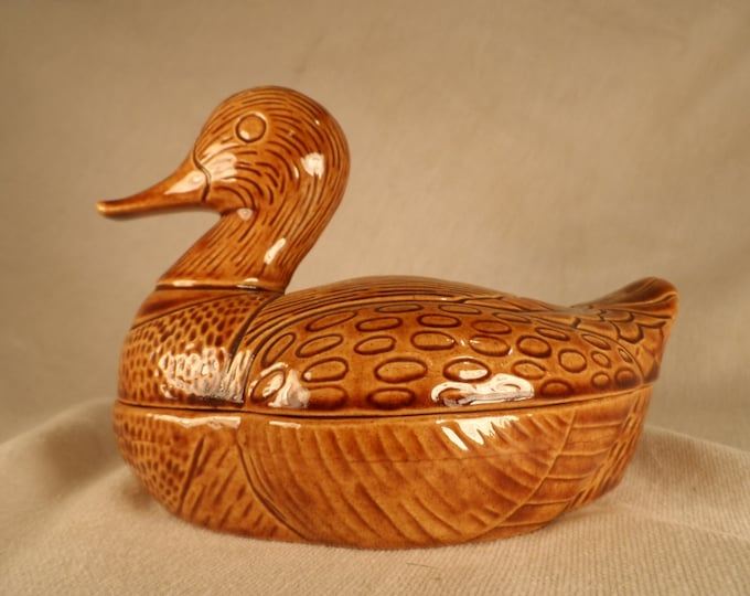 Vintage Pottery Covered Dish-Duck Covered Tureen-Trinket Box Shaped Like a Duck