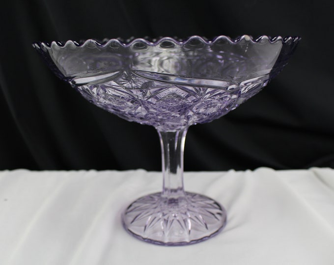 Footed Long Stem Compote EAPG Purple Glass Centerpiece Bowl