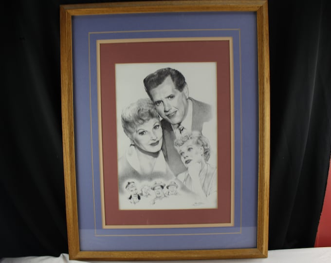 "Vintage Pencil Dot Matrix Print ""I Love Lucy"" Cast Lucy, Ricky, Fred, Ethel, Drawing by Rico Molina"