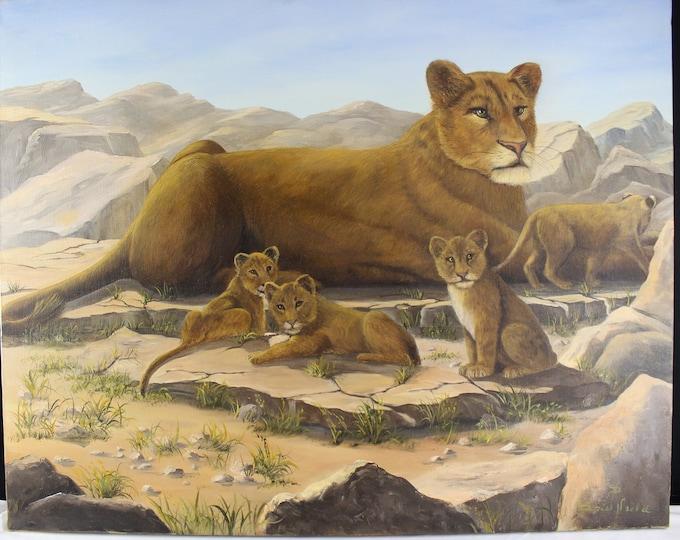 Original Oil Painting, Lioness & Cubs African Animals Doris Neeld Wall Decor Lion Home