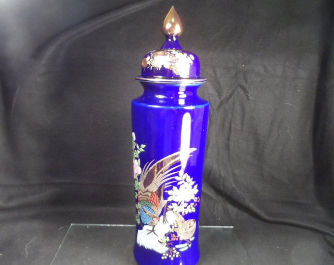 Heritage Mint Ming Dynasty Covered Jar-Cobalt Blue Gold Covered Ginger Jar Pheasants-Tall Blue Ceramic Covered Container
