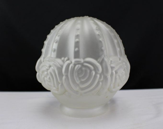 Vintage Ceiling Light Shade Frosted Glass Embossed Roses Puffy Light Shade