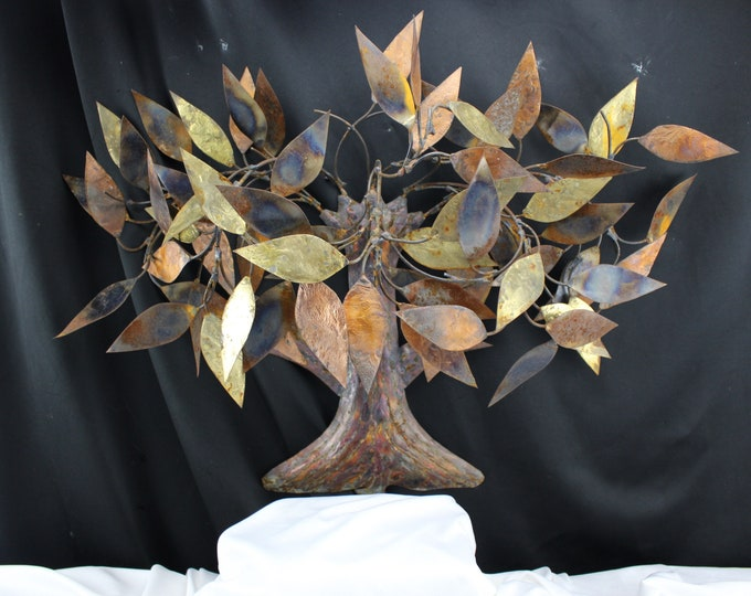 Vintage Wall Hanging Welded Metal Art Sculpture Tree with Leafs Gold Brass and Bronze