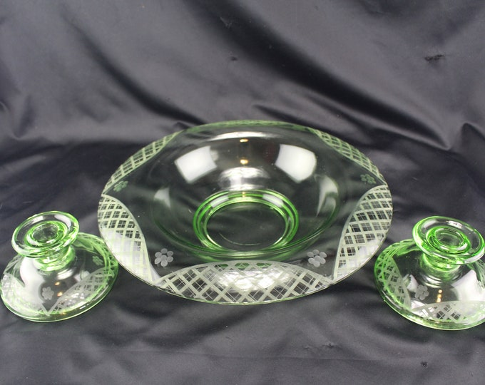Vintage Green Engraved Glass Console Bowl and Two Candlestick Holders Centerpiece