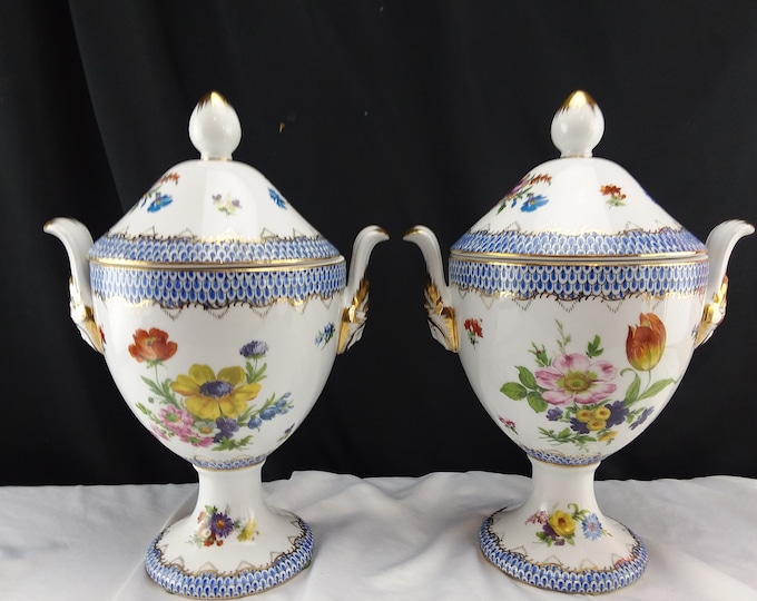 Vintage Matching Pair Andrea by Sadek Two Handles Ornate Covered Urns/Jars