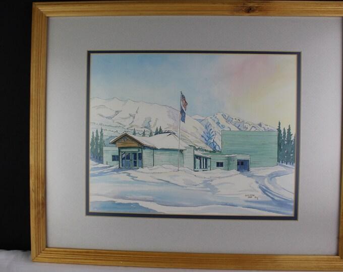 Watercolor Painting Landscape Alaska School House/Building Joyce Olsen AWS Home/Office Decor