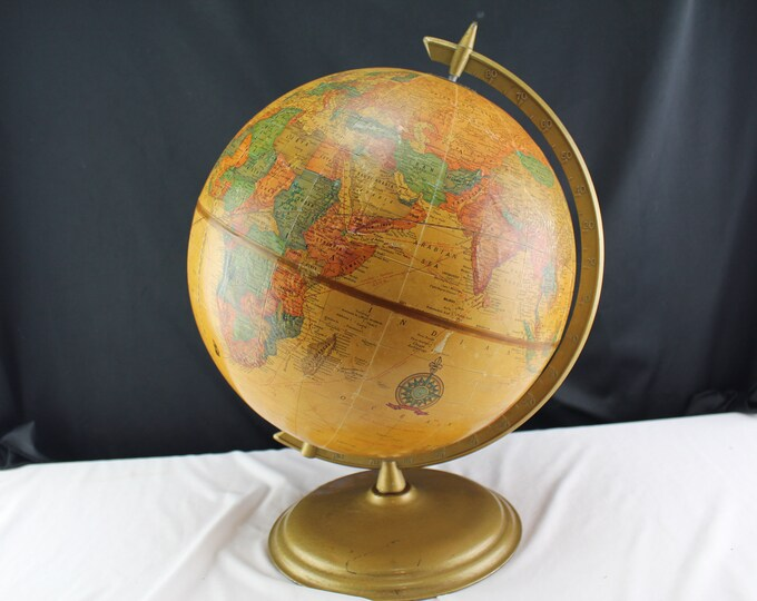 "Cram's 12"" Imperial World Globe Metal Stand Ancient Seas 1970's"