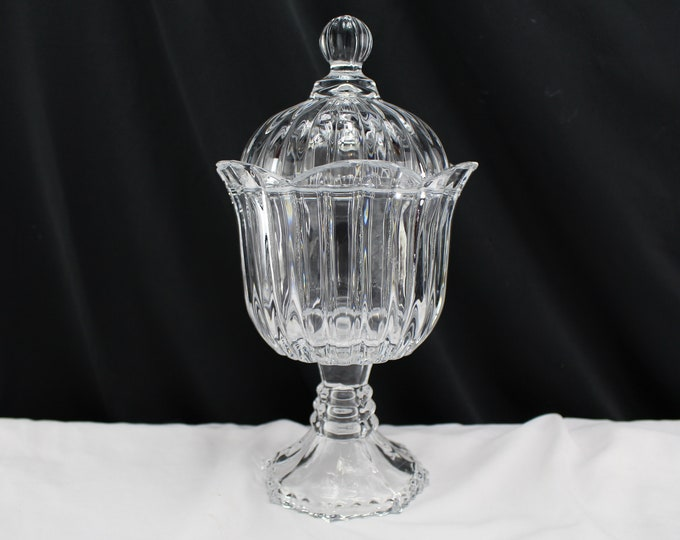 Clear Crystal Glass Pedestal Covered Bowl Candy Dish